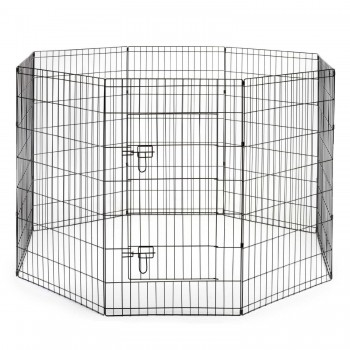 SmithBuilt Premium 8-Panel Black Dog Exercise Play Pen