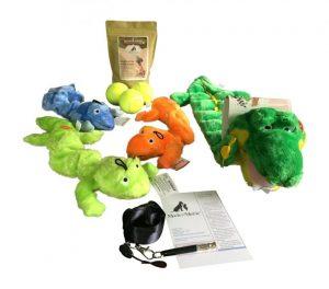 Mack & Mercie Dog Toy Bundle Kyjen Squeaker Matz, Three Zanies Plush Bungee Geckos, Three Tennis Balls, Organic Dog Treats and Training Whistle, Lanyard, Quick Tip Guide for Medium to Large Dogs Review