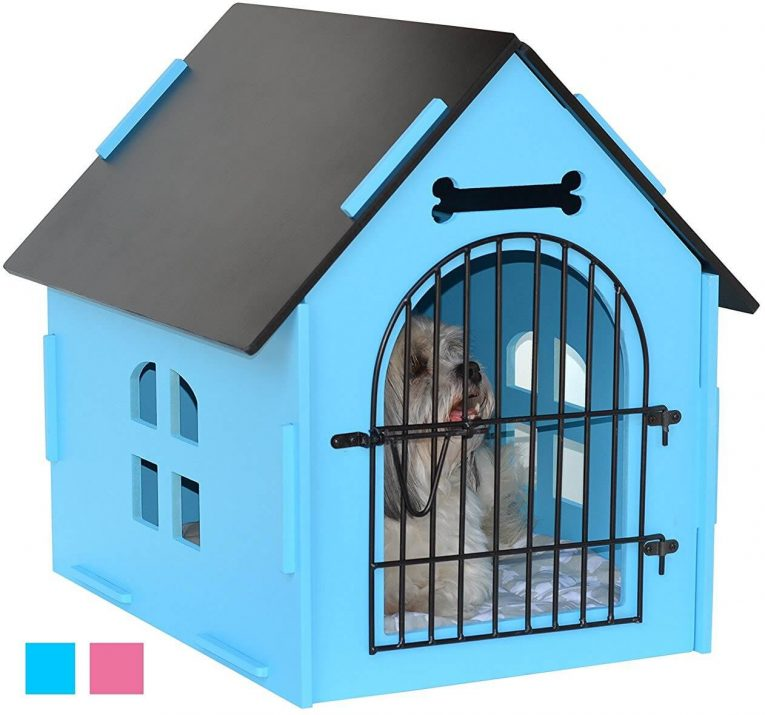 ROYAL CRAFT WOOD Dog House Crate Indoor Kennel for Small Dogs, Cats, Pet Home with Door and Bed Mat BLUE PINK Review
