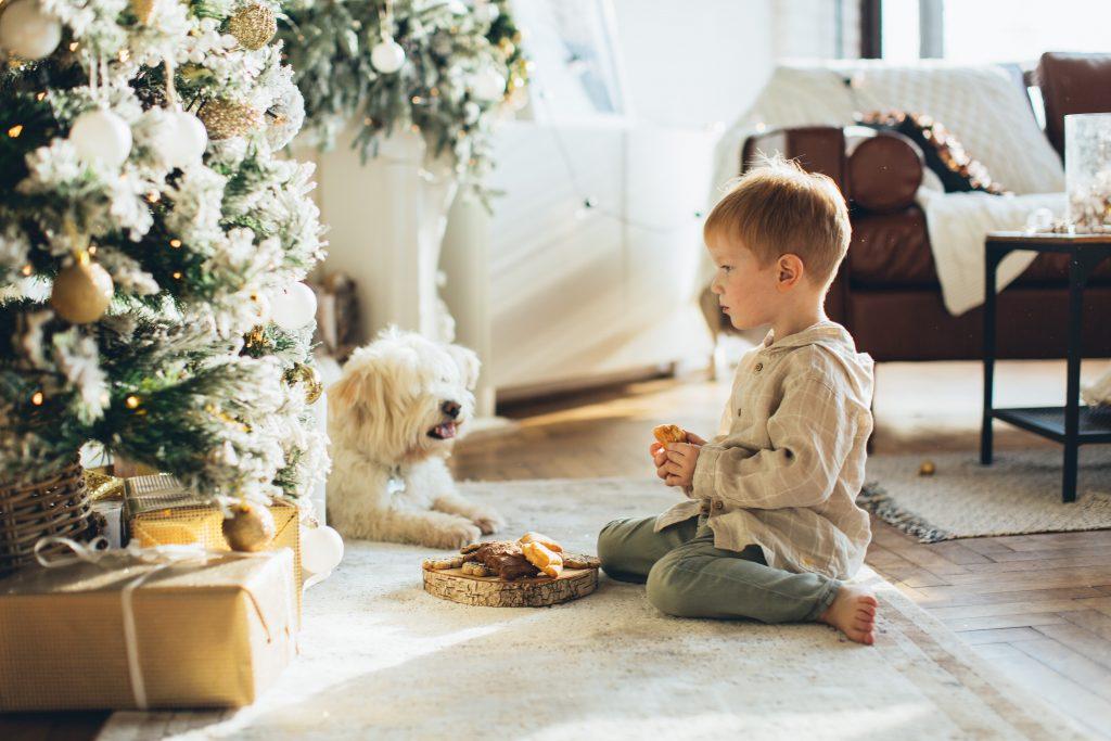 Christmas with Kid and Dog
