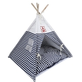VIILER- Pet Supplies Washable Durable Navy Stripe Style Pet House Tent and Pet Bed Mat